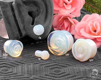"Single Flare Opalite Rose Glass Plugs 2g, 0g, 10mm, 7/16"", 1/2"" (12.5mm), 9/16"", 5/8"", 3/4"", 7/8"", 1"""