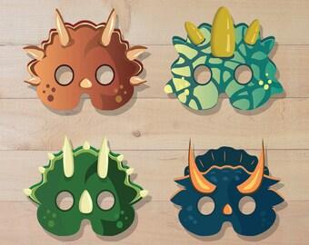 Dinosaur masks, dinosaur birthday,  dinosaur costume, kids mask, dino party, dino birthday, dino mask, paper mask, jurassic. triceratops.