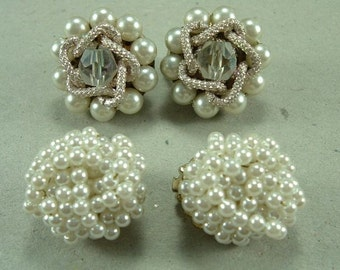 Two Vintage Pair Cluster Earrings, Clip On Jewelry, Assemblage Baubles, Wedding