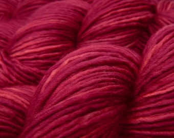 Hand Dyed Yarn, DK Weight Superwash Merino Wool Singles Yarn - Plumberry - Semi Solid Knitting Yarn, Wool Yarn, Single Ply Yarn, Red Violet