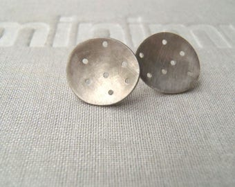 Brushed sterling concave perforated earrings minimal studs