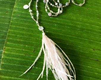 Tasselnecklace-tassel necklace, light grey moonstone, Labradorid, quartz feather tassel