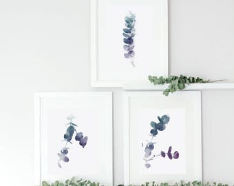 Botanical Eucalyptus Leaf Prints, Watercolour Print, Ultraviolet Color Print, Home Decor, Housewarming Gift, Wall Art, Purple, Blue