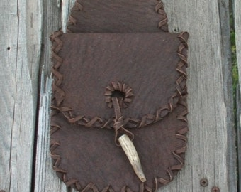 Brown leather belt bag , Leather phone bag , Leather hip bag