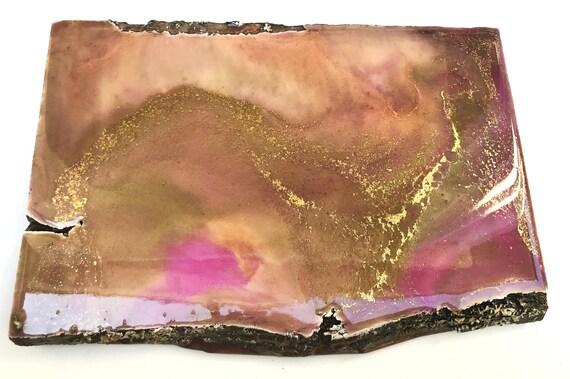 Peach Edge (live edge wood coaster & wall art / peach, pink, gold)