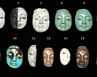Buddha Face Cabochon- Price is for one - Raku Ceramics