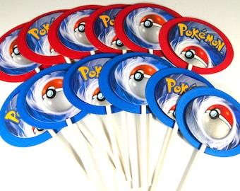12 Upcycled Pokemon Cupcake Toppers - Pokemon Cake Toppers - Pokemon Party - Pokemon Birthday Party - Pokemon Go