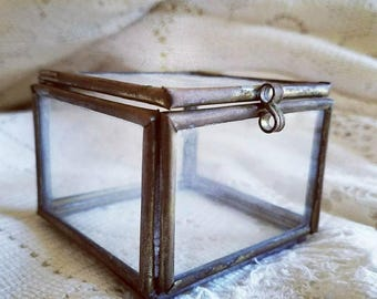 Glass keepsake box, clear ring box, geometric jewelry box, display box, square cube, gift box, trinket dish