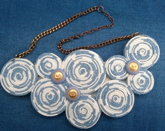 Denim necklace with vintage buttons