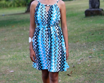 Aqua Blue Chevron Dress, Mini Dress, Cut Out Dress, Women's summer dress