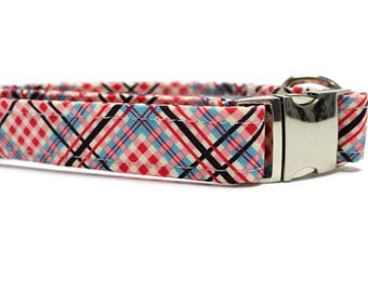 Red, Pink and Blue Plaid Dog Collar | Your choice of metal buckle or plastic buckle | Patriotic Dog Collar | Plaid Dog Collar