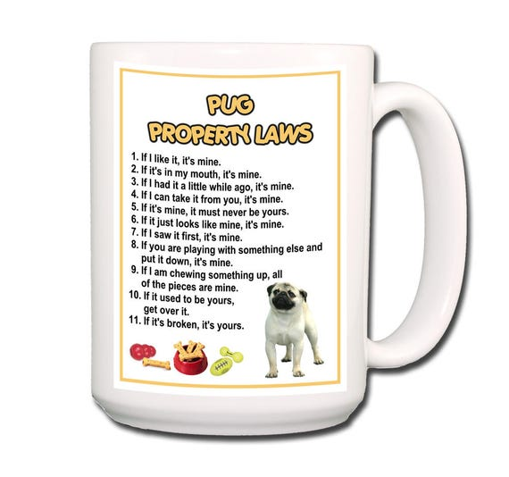 Pug Property Laws Extra Large 15 oz Coffee Mug No 1 Fawn