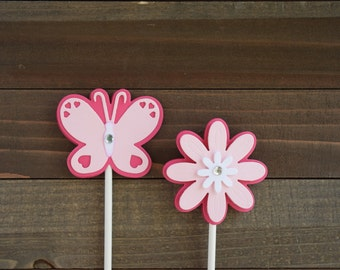 Butterfly Cupcake Toppers,  Flower Cupcake Toppers, Butterfly Birthday Party, Flower Birthday Party, Butterfly Food Picks (Set of 12)