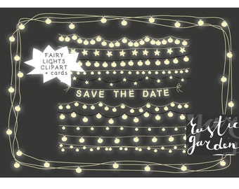 Save the date & fairy lights clipart, string lights clip art and card templates for small commercial use. WEDDING save-the-dates clipart.