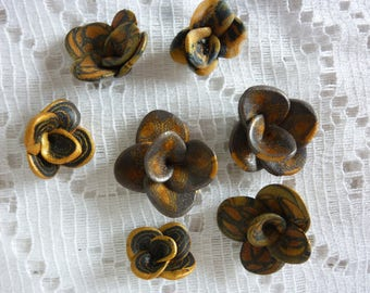 SET OF 7 SMALL FLOWERS POLYMER CLAY JEWELRY CREATION