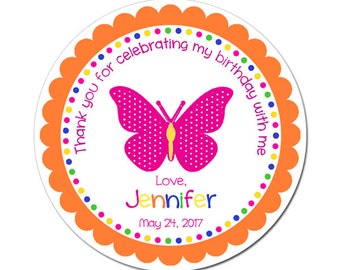 Custom Butterfly Birthday Labels Personalized Round Glossy Favor Stickers For Birthdays or Any Occasion