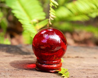 Red sapphire glass crystal ball