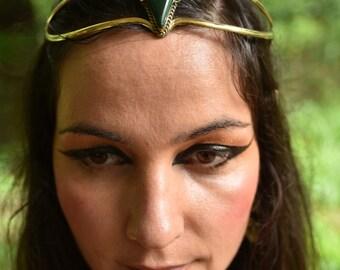 SALE was 104USD - Elven Fairy Pixie Brass Tribal Goddess Malachite Tear Drop Crystal Stone Flower Leaf Tiara Crown Head Piece OOAK