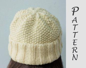 Easy Hat Knitting Pattern, Knit Hat PDF Pattern, Winter Hat Pattern, Instant Download