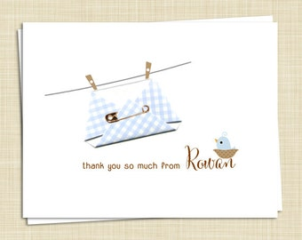 10 Personalized Baby Thank You Cards - Boy Girl Gender Neutral - Handmade - PRINTED