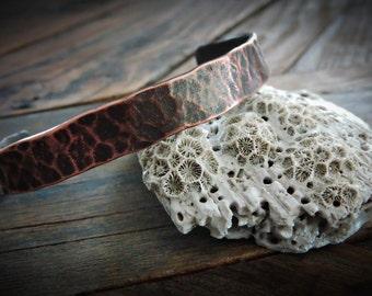 Oxidized Copper Cuff Bracelet - Rustic Unisex Hammered Cuff - Custom Sized Thin Metal Cuff Bracelet