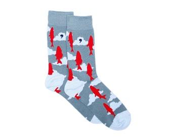 NOT A JOKE - Bamboo socks / fish socks / cloud socks / men socks / women socks / surrealist socks / original socks / fortune fish socks