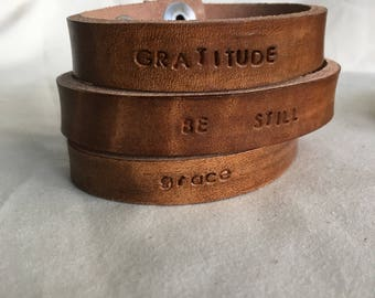Wear Your Word- 2018 Intention wearable inspiration  Leather Cuff Bracelet