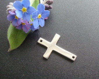 2 pcs, 16x10mm, Sterling Silver Sideways Cross Connector,  Handmade Findings