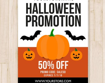 Halloween Sale Flyer Template - Halloween Promotion, Halloween Business Flyer, Store Sale - Photoshop PSD Template - *INSTANT DOWNLOAD*