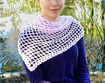 Crochet Pattern for Shawl, Wrap, Scarf, Lacy, Chain Crochet, Pink, Valerie Shawl, 18-357