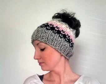 Fair Isle Messy Bun Hat, Knit Messy Bun Hat, Knit Ponytail Hat Pink, Fair Isle Bun Hat - Grey Marble