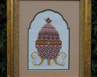 """Cross Stitch Instant Download Pattern """"Pink Elegance"""" Counted Embroidery Chart. Ornamental Decorative Egg Design Easter Holiday X Stitch"""