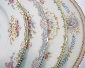Vintage Mismatched China Dinner Plates, Shabby, Cottage Chic, Farmhouse, Garden Party, Wedding China, Wedding,Bridal Luncheon - Set of 4