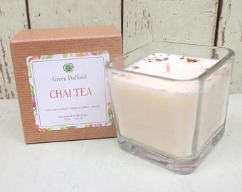 Chai Tea Soy Candle - 12 oz. Glass Cube - Green Daffodil - Hand poured -CG - Fall Scent
