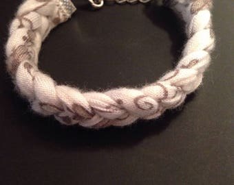 Beige and off white braided bracelet