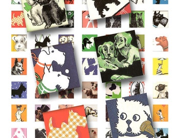 vintage dog images from the 1940's, .75 x .83 scrabble tile printable collage sheet 1103