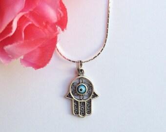 hamsa hand necklace - silver plated hamsa charm necklace - bohemian chic jewelry accessory - hamsa jewelry - evil eye - women's jewelry gift