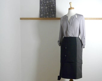Size L - Jacket Pencil Skirt in Navy & Grey - Upcycled