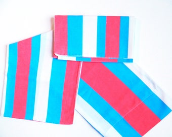 Vintage Bright Striped Pillowcases / Set of 2 Bold Colorful Pillowcases / Colorful Home Vintage Decor