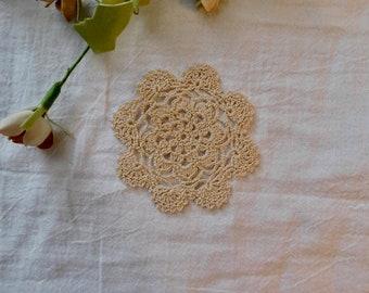 Ecru Hand Crocheted Mini Doily