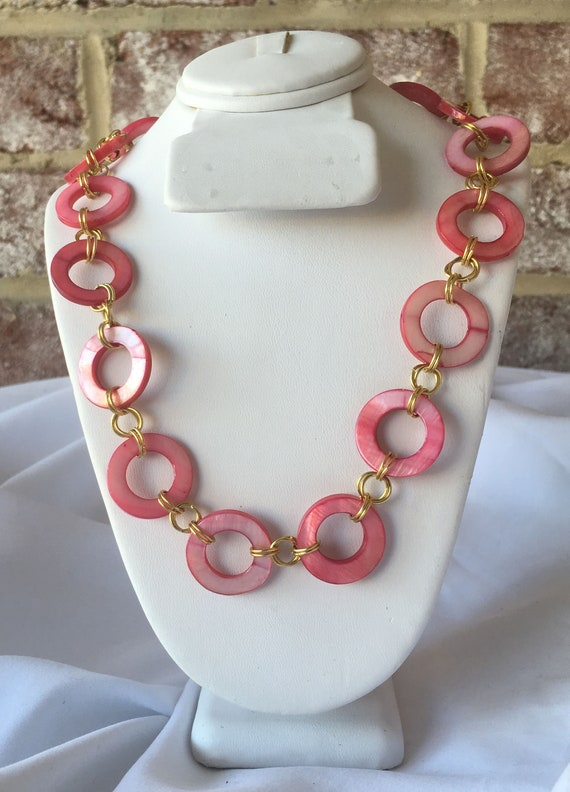 Pink Mother of Pearl (Shell) Rings and Gold Ring Links Necklace