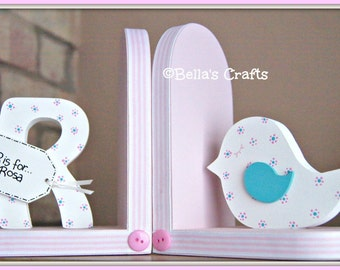 Personalised Pink and White Bird Bookends for children. Set of 2 bookends, one with a personalised initial another one with a bird.