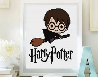 Cross stitch pattern modern. Harry Potter, Harry Potter cross stitch DPF pattern .Patrón punto de cruz moderno descargable PDF (#46)