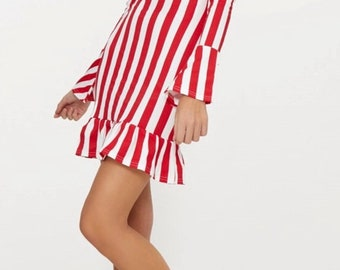 Red stripe smock dress