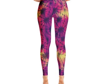 Neon Tropics Tie Dye Leggings Midnight Tropical Neon Sunset Hyperreal Yoga Pants Womens Beach Nightlife Graphic Printed Leggings Tye Dye