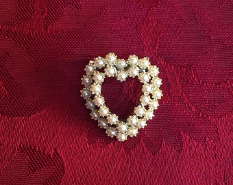 Vintage Brooch - Heart Pin - Faux White Seed Pearl Brooch/Pin