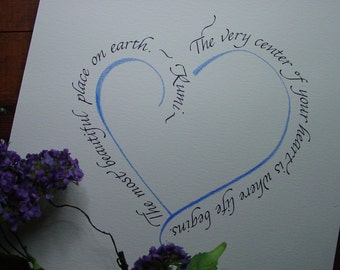 Custom Calligraphy Art - Rumi quote - Calligraphed heart quote - Wedding gift art -Wall art
