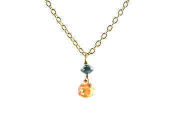 Teeny Tiny Orange Sapphire Briolette and Blue Diamond Pendant Necklace on Solid Gold Chain