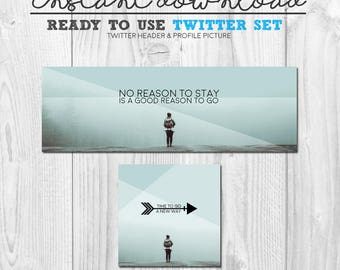 ready to use twitter image set, premade twitter social media cover banner header graphic package, instant download ready to upload twitter