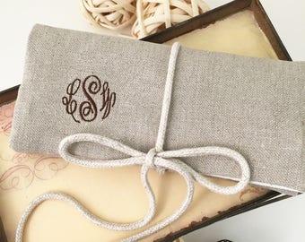 Monogram Jewelry Case~ Linen Travel Jewelry Case~ Jewelry Organizer~ Personalized Jewelry Roll~ Travel Gift for Women